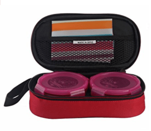 All Time Plastic Lunch Box with Bag Set, 230ml, Set of 2, Pink at rs.162