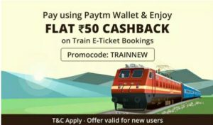 Paytm- Get Flat Rs 50 Cashback on Train Booking