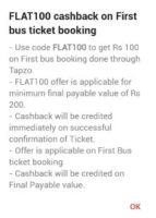 Flat 100 cashback on 1st bus ticket booking