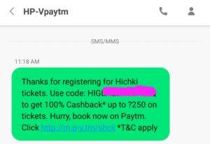 Paytm - 100% Cashback on Booking Hichki Movie Tickets 1