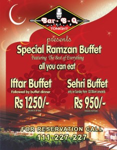 BBQ Tonight Karachi Iftar Deal 2013 Ramadan Sehri Buffet