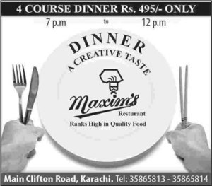Maxim's Restaurant Karachi Iftar Dinner Offer 2013