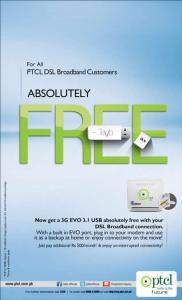Free PTCL EVO Device 3G 3.1 with DSL Broadband