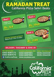 California Pizza Karachi Sehri Deals 2014 Ramadan