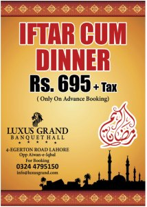 Luxus Grand Lahore Iftar Deal 2015
