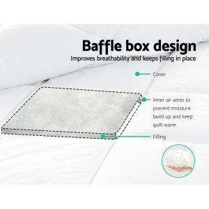 Giselle Bedding 800GSM Goose Down Feather Quilt Cover Duvet Winter Doona White Queen