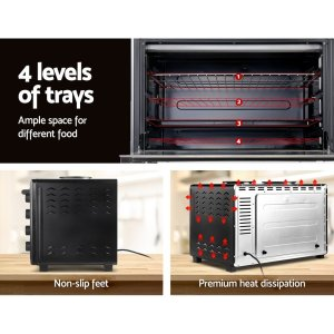 Devanti Electric Convection Oven Benchtop Rotisserie Grill 60L Hotplate Black