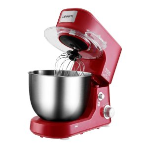 Devanti Electric Stand Mixer 1200W Kitche Beater Cake Aid Whisk Bowl Hook Red