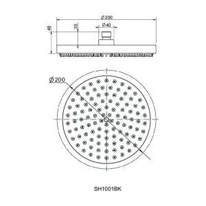 200mm Shower Head Round 304SS Showerhead Electroplated Matte Black Finish