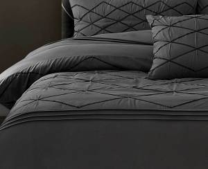 Super King Size 3pcs Embroidered Grey Quilt Cover Set