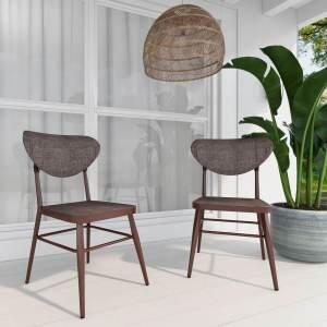 Sammy Modern Retro Brown Outdoor Dining Chair Set of 2