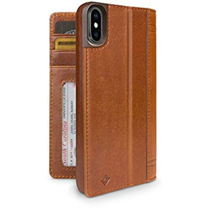 Amazon.com: Twelve South Journal for iPhone X   Leather Wallet Shell and Display Stand (cognac): Cell Phones & Accessories