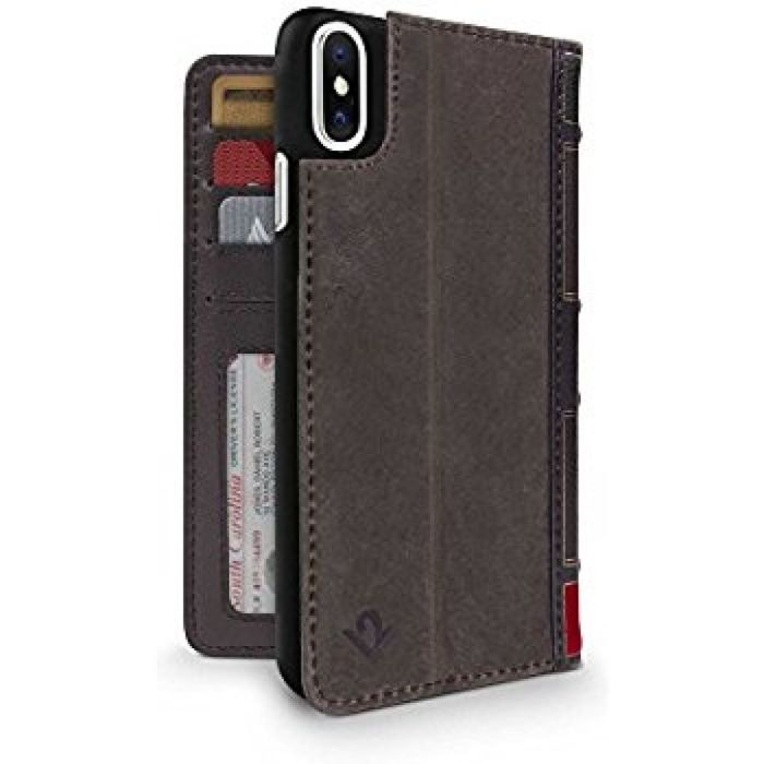 Amazon.com: Twelve South BookBook for iPhone X | 3-in-1 leather wallet case, display stand and removable shell (brown): Cell Phones & Accessories