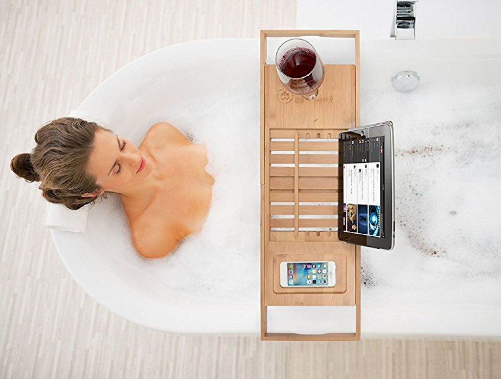 Buy Bamboo Bathtub Caddy Tray with Extending Sides for $28.99 (Was ...