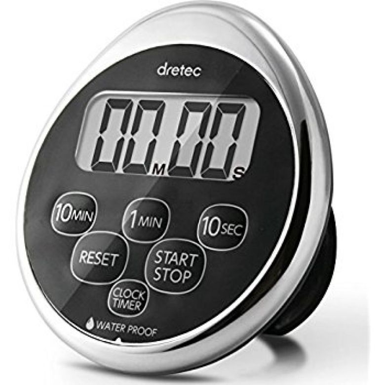 Amazon.com: dretec Digital kitchen timer, Water proof timer, Shower timer, Magnetic backing, Silver, Black, Officially Tested in Japan (1 starter Lithium battery included): Kitchen & Dining