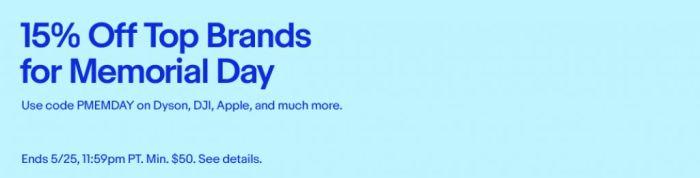 15% Off Top Brands for Memorial Day | eBay