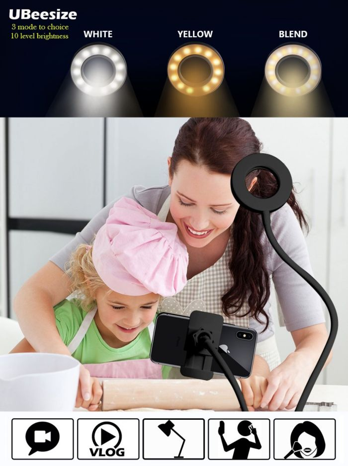 Amazon.com: Selfie Ring Light with Cell Phone Holder Stand for Live Stream and Makeup, UBeesize LED Camera Light [3-Light Mode] [10-Level Brightness] With Flexible Long Arms for iPhone, Android Phone: Camera & Photo