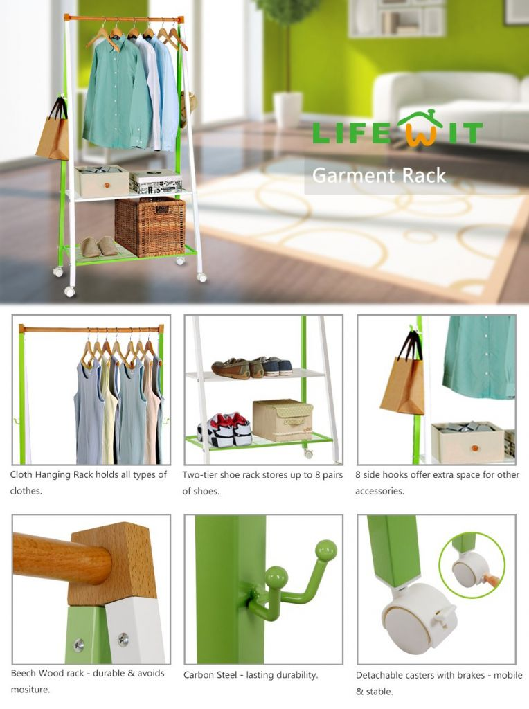 Amazon.com: Lifewit Heavy Duty Wooden Metal Clothing Garment Rack with Hooks Organizer,Mother's Day Gift: Home & Kitchen
