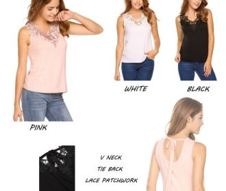 Buy Women's Sleeveless Lace Patchwork Shirt Tie Neck Causal Blouse Tank Tops for $8 (Reg : $19.99)