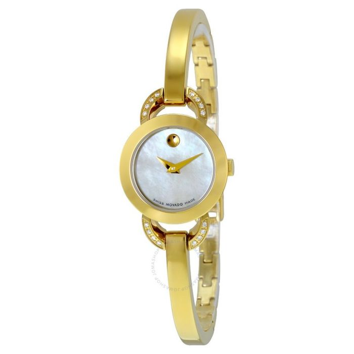 Movado Rondiro White Mother of Pearl Dial Yellow Gold PVD Ladies Watch 0606889 - Rondiro - Movado - Watches - Jomashop
