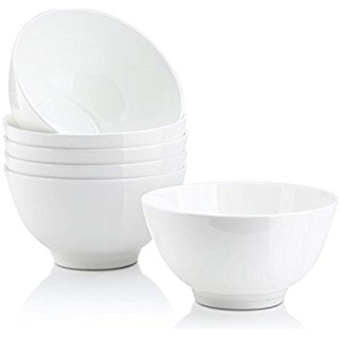 Amazon.com | DOWAN 14-Ounce Bone China Bowl Sets, White Soup/Rice/Dessert Bowls, Set of 6 - Microwavable: Rice Bowls