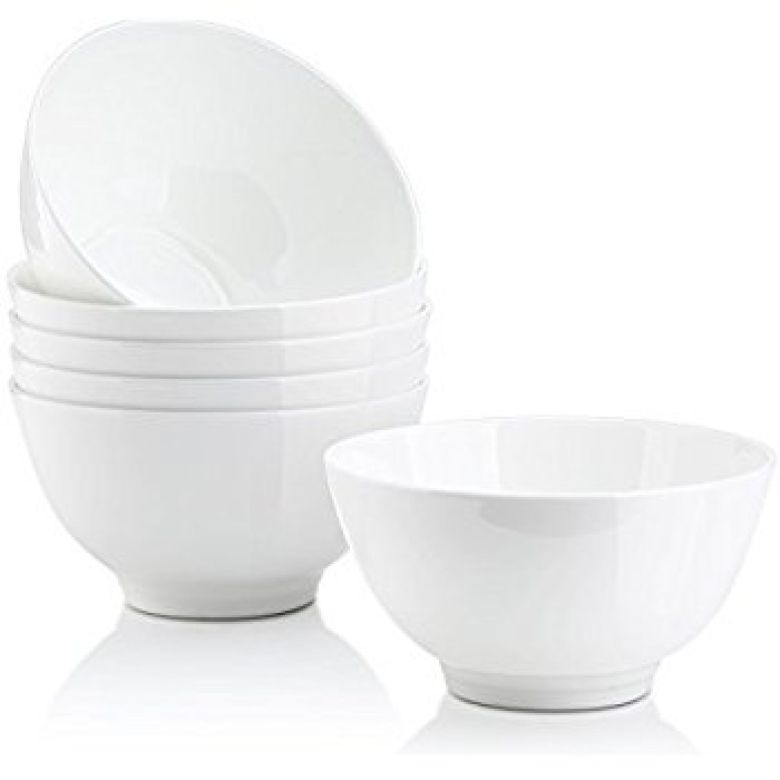 Amazon.com | DOWAN 14-Ounce Bone China Bowl Sets, White Soup/Rice/Dessert Bowls, Set of 6 - Microwavable: Rice Bowls