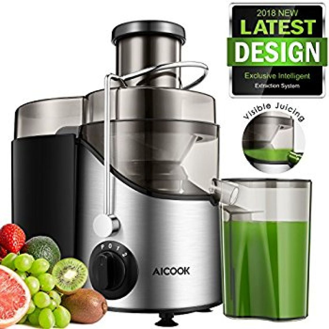 Amazon.com: Juicer Juice Extractor, Aicook 3'' Wide Mouth Stainless Steel Centrifugal Juicer, BPA-Free, Non-Slip Feet, Three Speed Juicer Machine for Fruits and Vegetable: Home & Kitchen