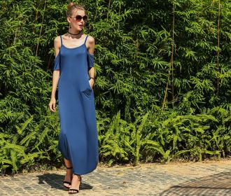 Buy Spaghetti Cold Shoulder Casual Side Split Long Maxi Dress for $8.39 (Was $27.99)