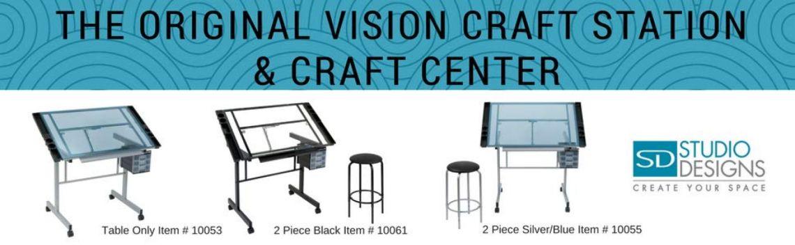 Amazon.com: Studio Designs 10053 Vision Craft Station in Silver / Blue Glass