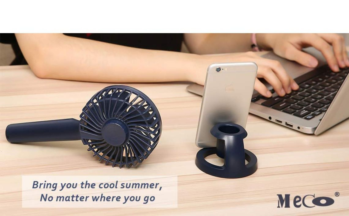 Amazon.com: Mini Handheld Fan, MECO Portable Operated Fan Desktop Fan Outdoor Electric Fan with Phone Holder Aromatherapy Design 3 Speeds for Home Office Outdoors Travel-Newest 2018: Kitchen & Dining