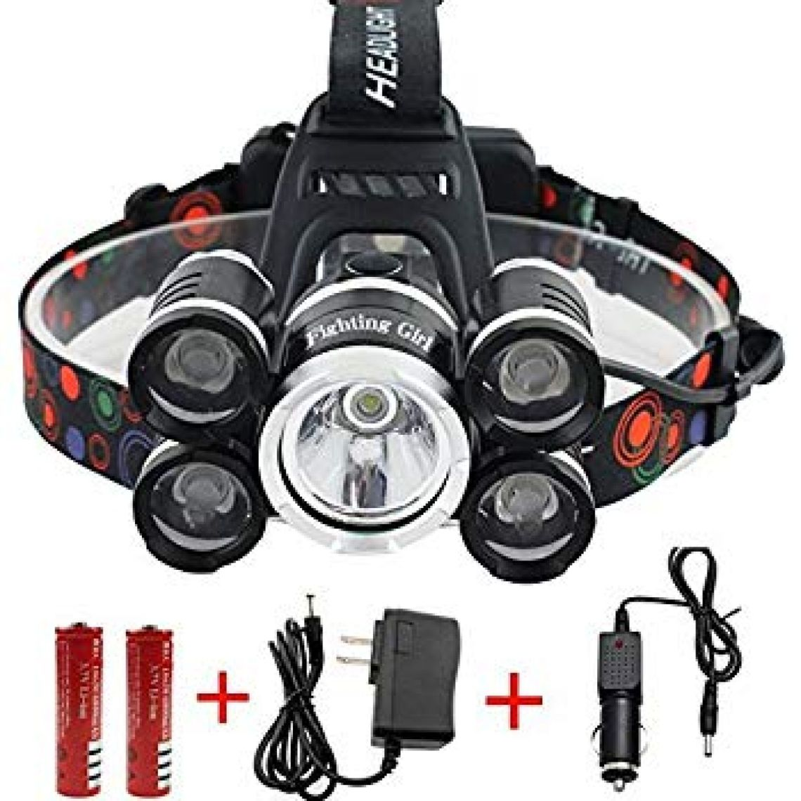 Waterproof 12000 Lumen 5 Led Headlamp XML T6+4Q5 Head Lamp Powerful Led Headlight, 18650 Rechargeable Batteries, Car Charger, Wall Charger and USB Cable - - Amazon.com