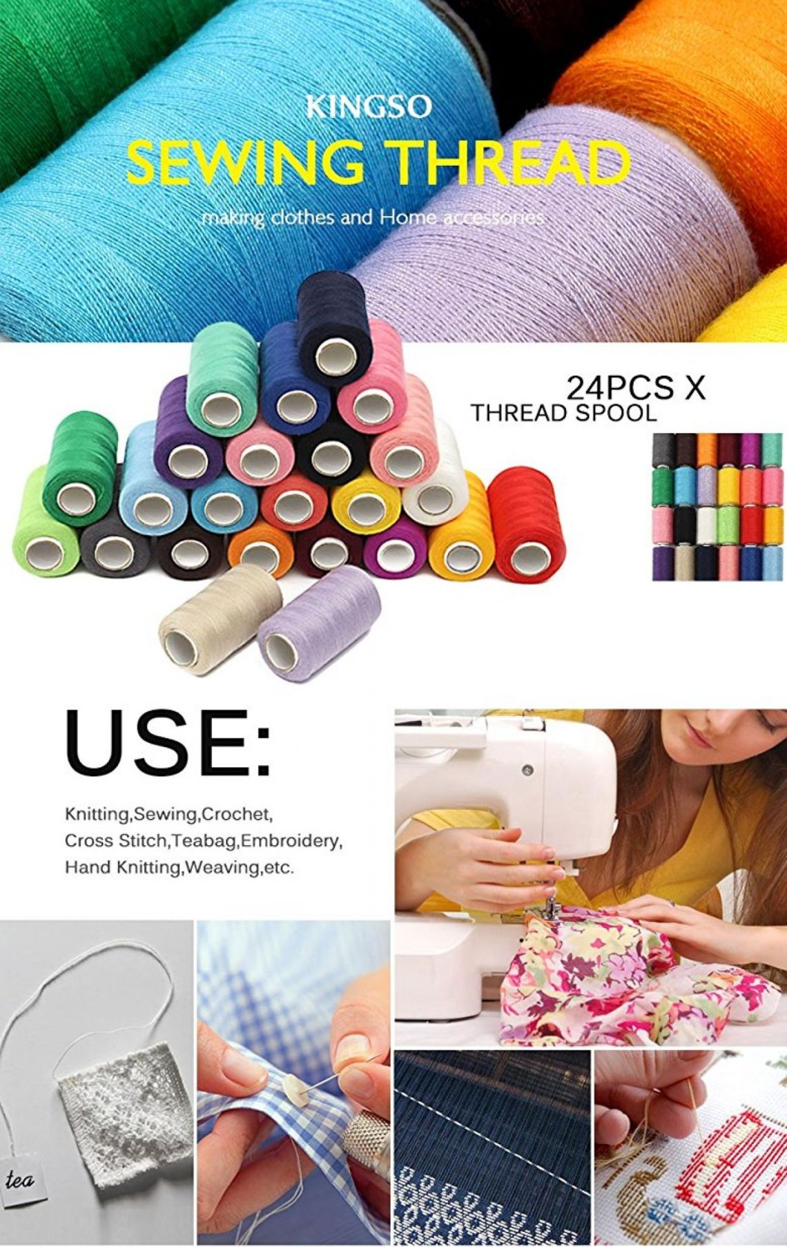 Amazon.com: KINGSO 24 Assorted Colors Polyester Sewing Thread Spool 1000 Yards Each