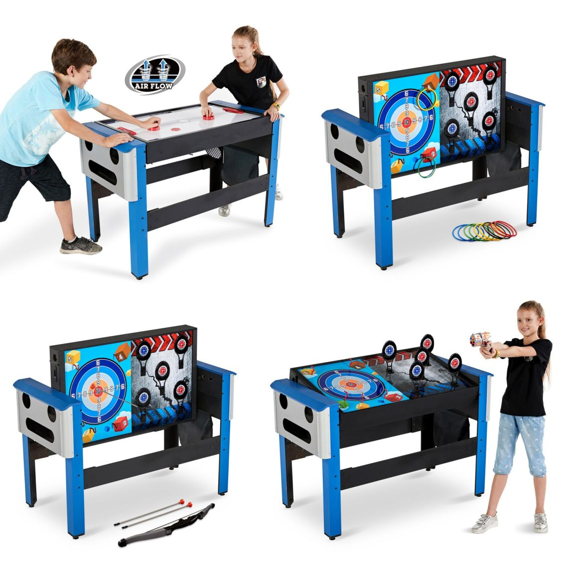MD Sports 48 Inch 4-IN-1 Swivel Combo Game Table, Air Powered Hockey, Archery, Target Shooting and Ring Toss - Walmart.com