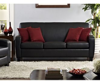 Buy Mainstays Faux Leather Sofa + Free Shipping for $289 (Was $400.00)