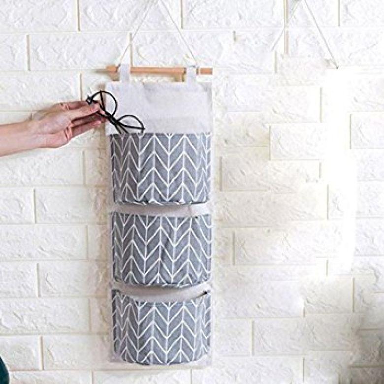 Amazon.com: Transer Wall Mounted 3 Bags Storage Bag Over the Door Storage Pockets Wall Door Closet Hanging Storage Bag Organizer (Gray): Kitchen & Dining
