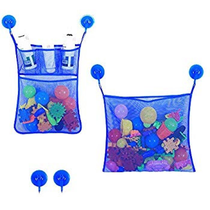 Amazon.com: caloics C Bath Toy Storage Organizer Baby Bathtub Toy Holder, 2 Mesh Net + 6 Anti-Slip Hooks, Bathroom Storage Shower Shampoo Soap Organizer (Blue Mesh): Toys & Games
