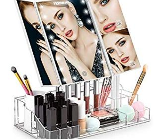 Buy Tri-fold Makeup Mirror, Acrylic Makeup Organizer for $11.99 (Was $39.99)