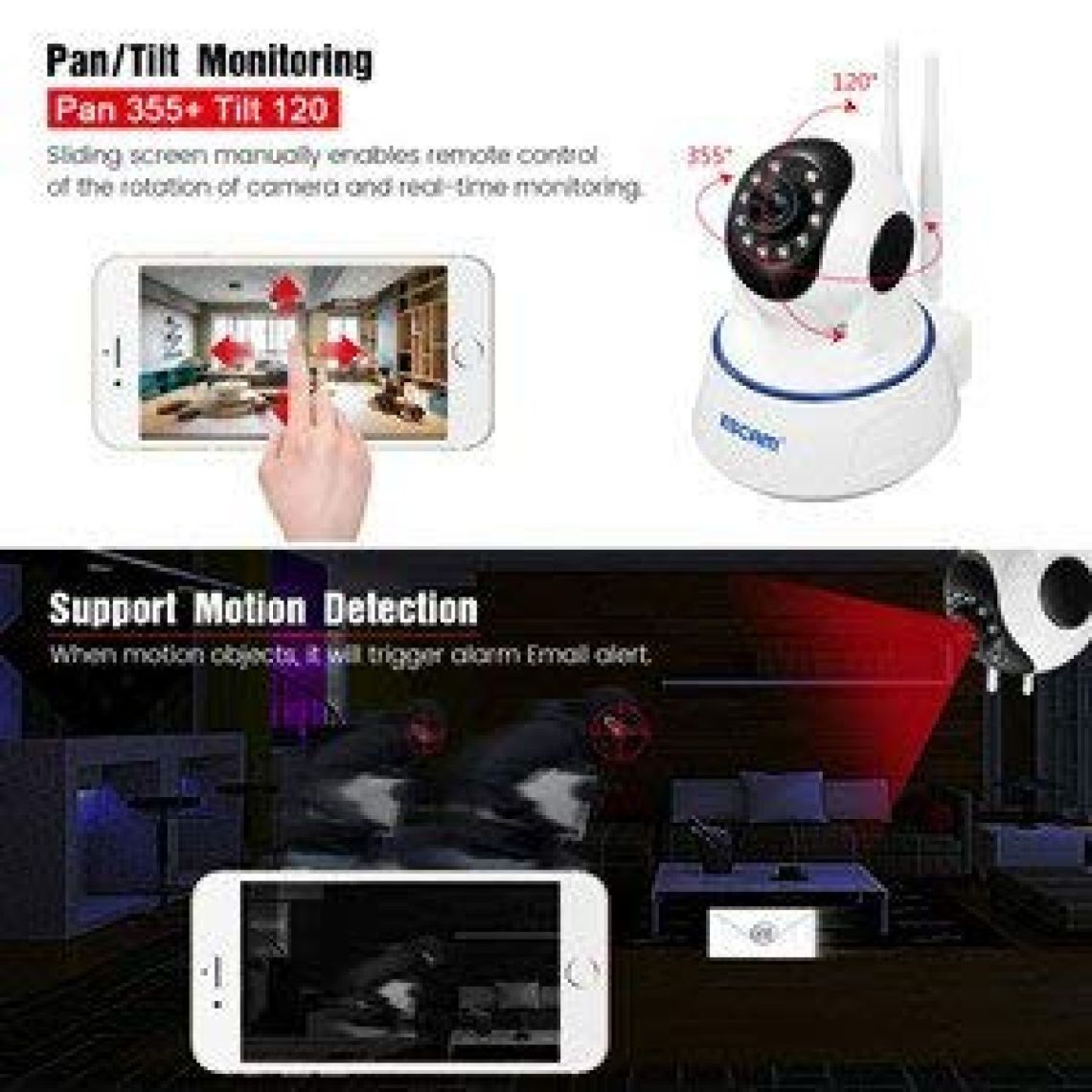 Amazon.com : HD IP Camera, EIVOTOR 1080P Wireless Wifi Security Cam with Pan/Tilt Motion Detection Recording, Surveillance Security Alarm System with Night Vision for Baby Pet Home Monitor : Camera & Photo
