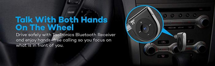 Amazon.com: Two Microphones 15 Hour Bluetooth Receiver/Bluetooth Car Kit, TaoTronics Bluetooth 4.1 Portable Wireless Audio Adapter 3.5mm Aux Stereo Output (One Click Siri Activation,DSP/cVc 6.0/A2DP/AVRCP/AAC): Cell Phones & Accessories