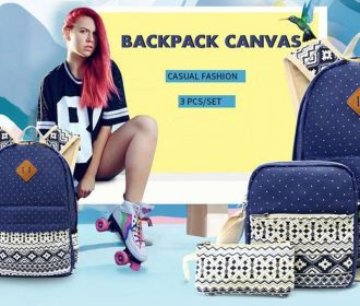 Buy 3-Piece Canvas Backpack Set for $25.75
