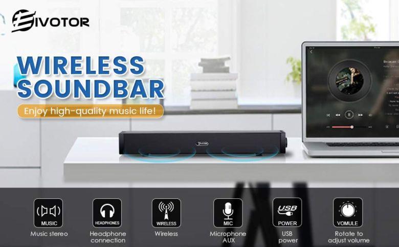 Amazon.com: EIVOTOR 17'' Wired and Wireless Mini Soundbar Speaker for TV Phone Radio Ipad Laptop PC, Black【2018 Upgraded Version】: Computers & Accessories
