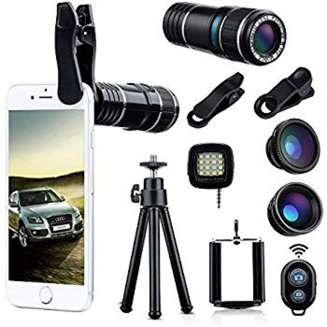 Amazon.com: Wonyered 4-in-1 Cell Phone Camera Lens 12X Telephoto Lens 180 Degree Fisheye Lens 0.65 Wide Angle Lens Micro Lens with Tripod and Clips for iPhone Samsung Galaxy Android and All Smartphones: Camera & Photo