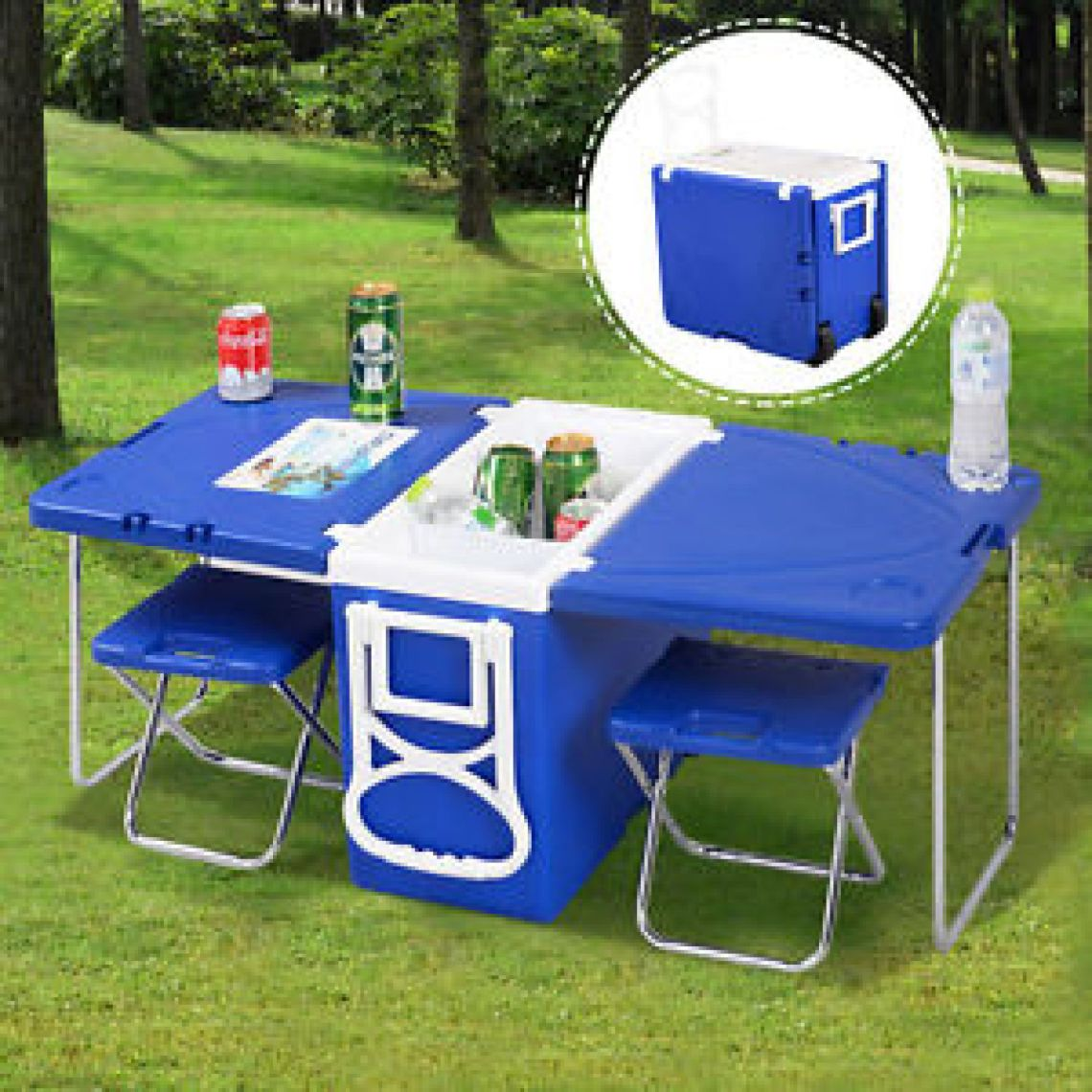 Multi Function Rolling Cooler Picnic Camping Outdoor w/ Table & 2 Chairs Blue | eBay