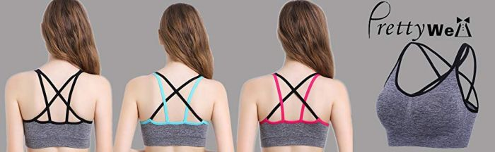 PRETTYWELL Criss Cross Wirefree Low Impact Lounge Sports Bra Removable Padding 3 Pack XXL at Amazon Women's Clothing store:
