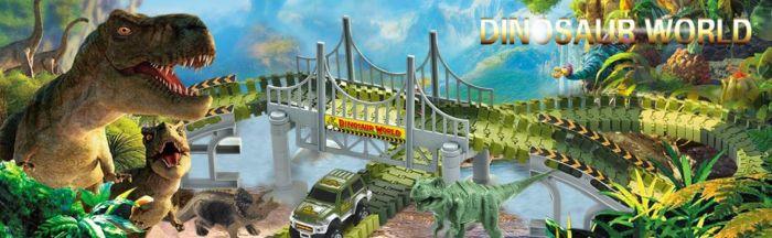 Amazon.com: AUUGUU Dinosaur Race Car Track Train Toys, Perfect Birthday for 3 4 5 6 7 Year Old Boys Kids, Jurassic World Dinosaur Park Playset with 142 Pieces Tracks, 2 Dinosaurs and 2 Vehicle: Toys & Games