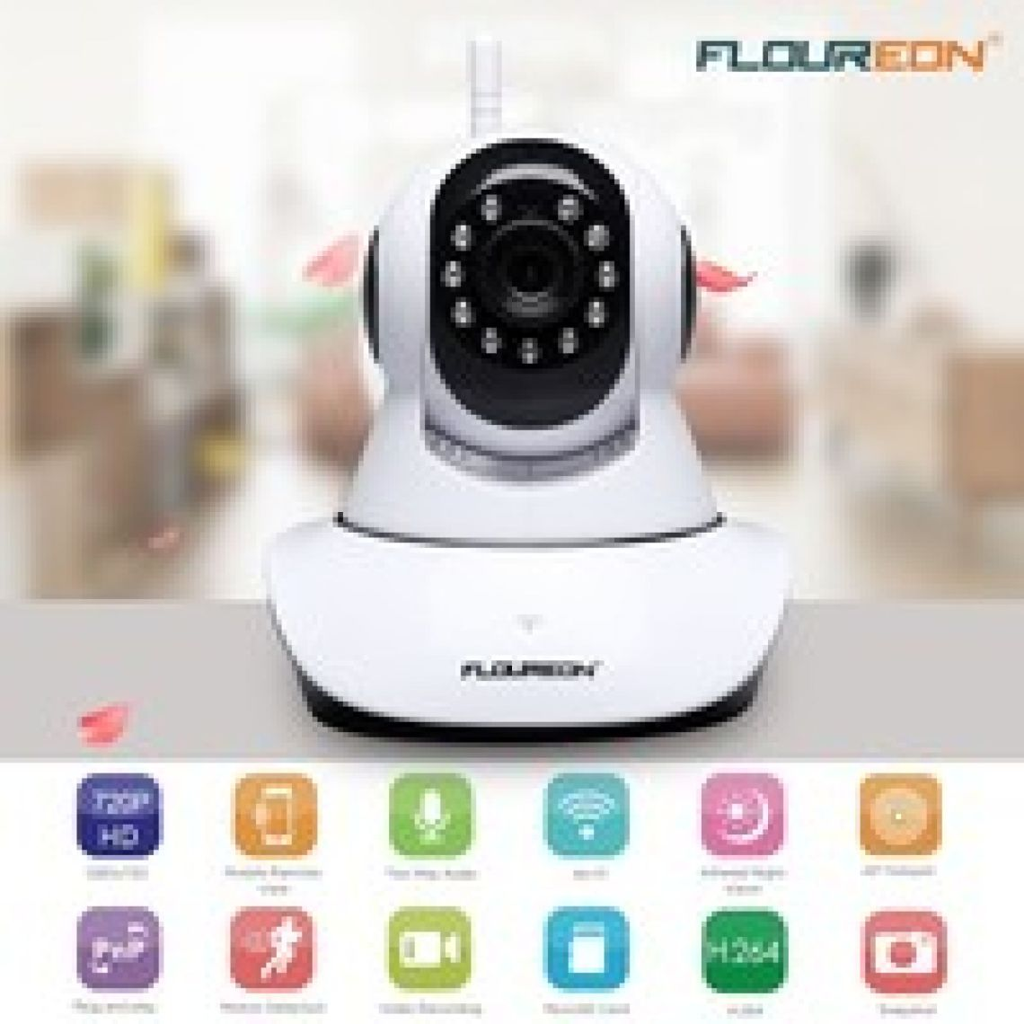 wish | FLOUREON 720P Wifi 1.0 Megapixel Wireless CCTV Security IP Camera with Night Vision Motion Detection