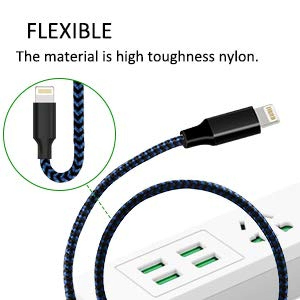 Amazon.com: Youer Phone Cable 3Pack 6FT Nylon Braided USB Charging & Syncing Cord Compatible with iPhone X iPhone 8 8 Plus 7 7 Plus 6s 6s Plus 6 6 Plus iPad iPod Nano - Black Blue: Cell Phones & Accessories