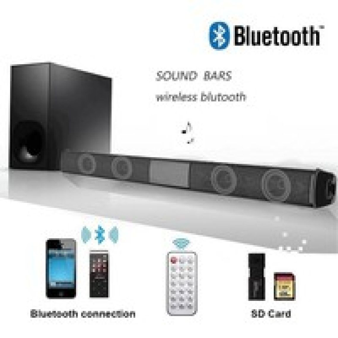 Wish | Wireless Bluetooth Soundbar Speaker TV Home Theater Soundbar + Remote Control