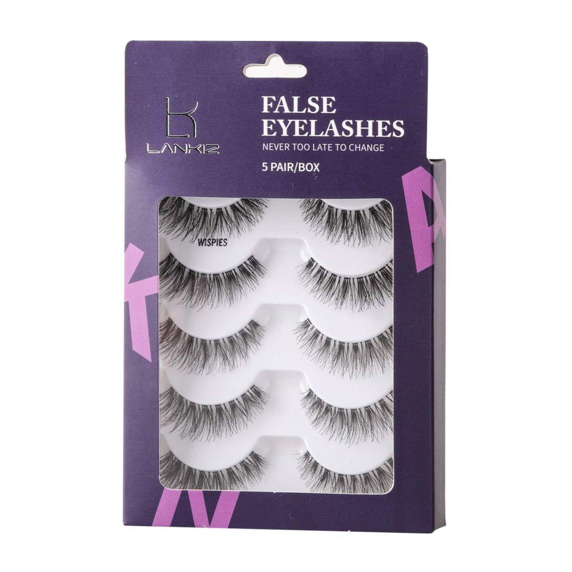 Amazon.com : 5 Pairs 3D False Eyelashes Flexible Demi Wispies False Lashes Reusable Handmade Cross Fake Eye Lashes for Makeup Natural Looking Black Eyelashes LK LANKIZ (WISPIES) : Beauty
