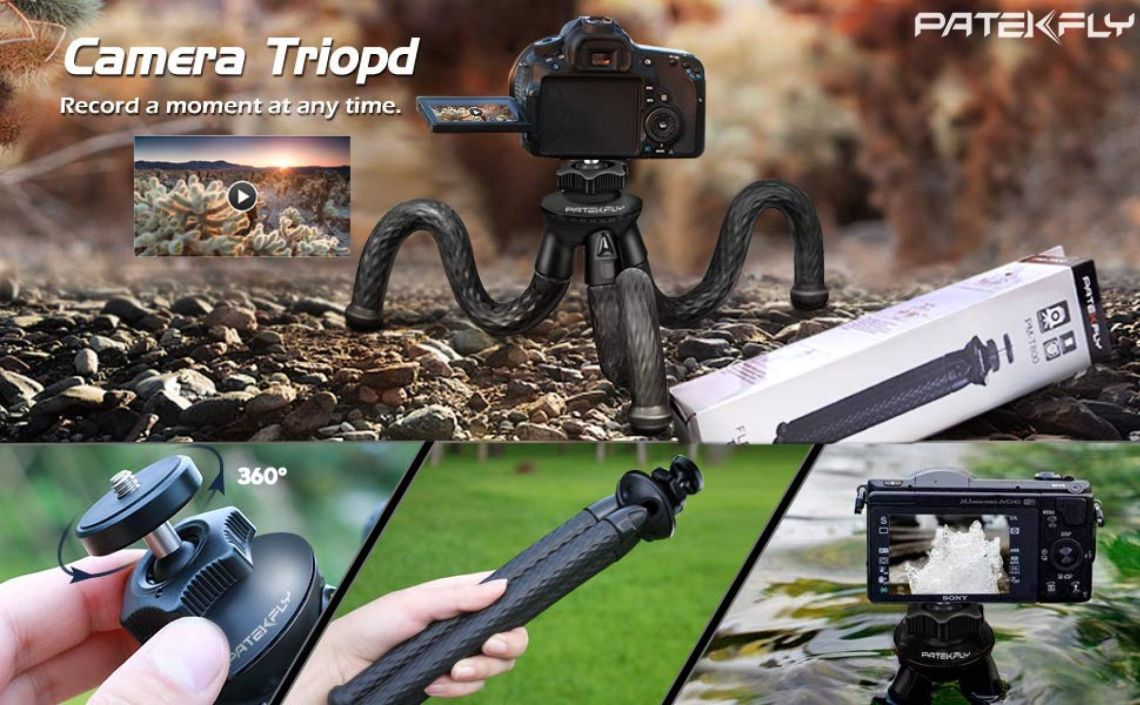 Amazon.com : Camera/Phone Tripod, Patekfly 12 Inch Flexible Camera Tripod for GoPro/Canon/Nikon/Sony DSLR Cam/Gopro Action Cam, Phone Tripod Stand with Cell Phone Holder Clip for iPhone/Android Phone(3 in 1) : Camera & Photo